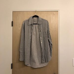 CAD Gray and White Stripe Button Down Shirt